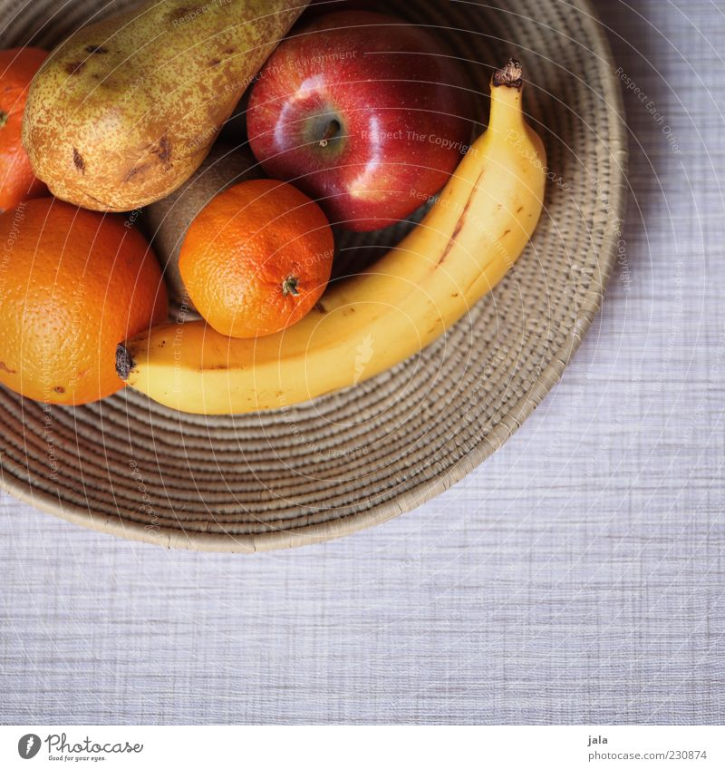 fruit Food Fruit Apple Orange Banana Kiwifruit Pear Nutrition Organic produce Vegetarian diet Bowl Healthy Vitamin Colour photo Interior shot Deserted