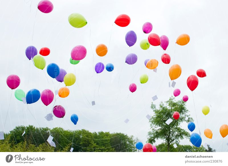 Number 844 Joy Feasts & Celebrations Birthday Balloon Blue Multicoloured Yellow Green Violet Pink Red Happiness Joie de vivre (Vitality) Ease Flying Ascending