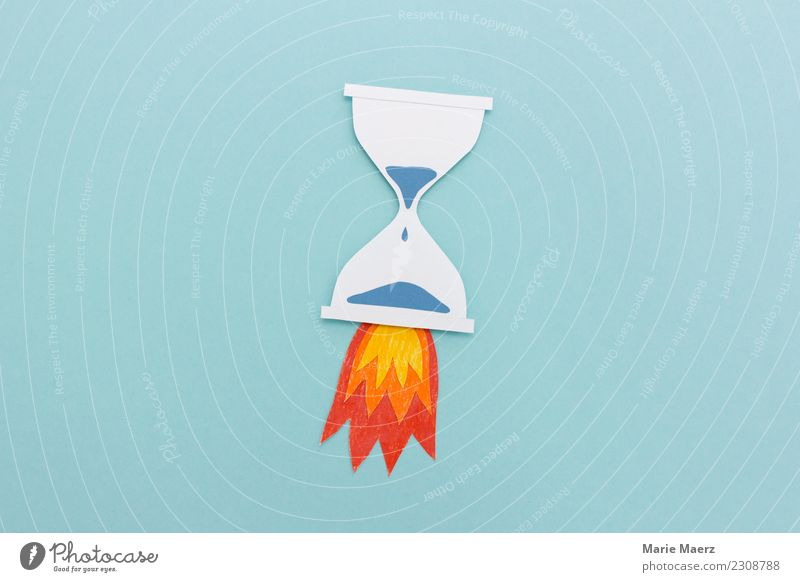 Hourglass with rocket fire Study Business Career Running Speed Blue Determination Apocalyptic sentiment Energy Stress Time Target Haste Calm Power