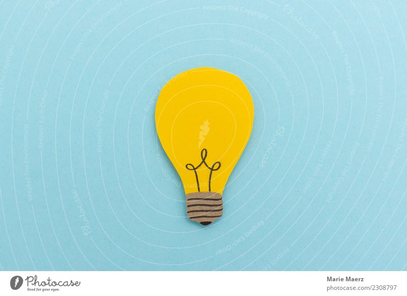 Idee & Inspiration Study Business Success Electric bulb Think Illuminate Exceptional Fresh New Positive Blue Yellow Virtuous Optimism Wisdom Smart Curiosity
