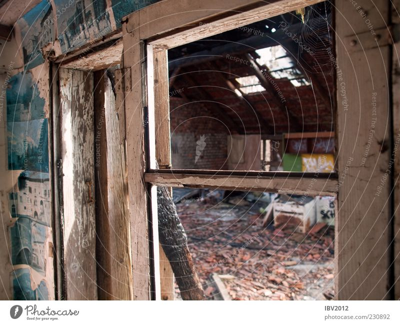 Room with a view House (Residential Structure) Hut Ruin Window Roof Old Poverty Cold Decline Derelict Image Shabby Danger of collapse Window frame Vantage point