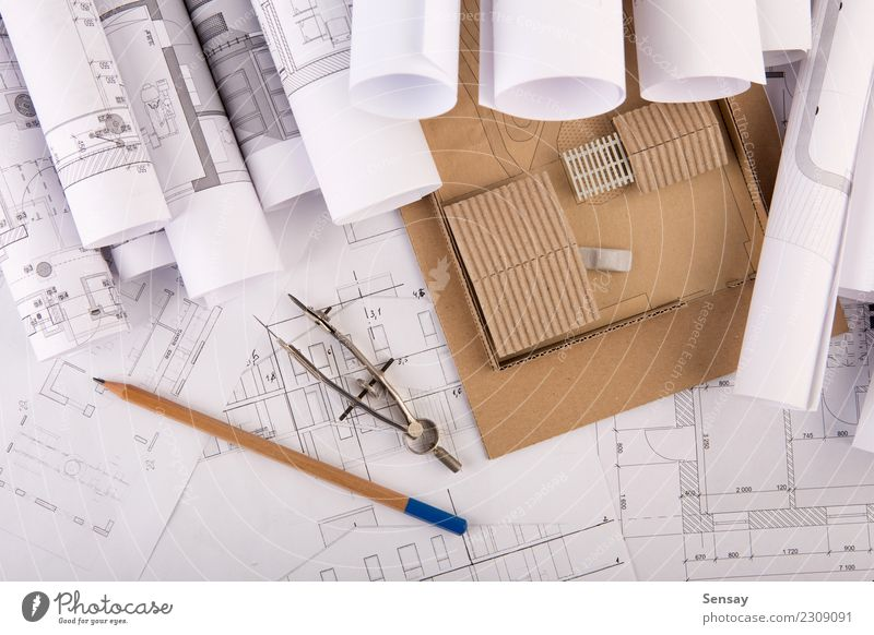 Workplace of architect Design Flat (apartment) House (Residential Structure) Desk Table Office work Industry Business Technology Architecture Paper Wood White