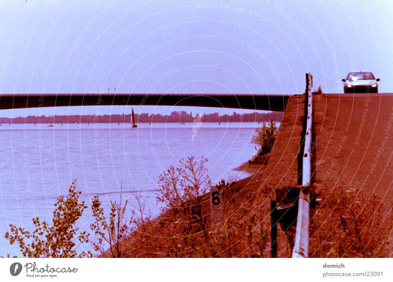 Along the Rhine Driving Crash barrier Sailing Tar Transport Car River Water Bridge Street Coast Blue Landscape