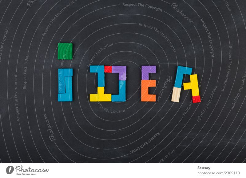 Business creative idea solution concept Playing Success Blackboard Family & Relations Group Wood Think Colour Idea Creativity Precision Teamwork puzzle Jigsaw