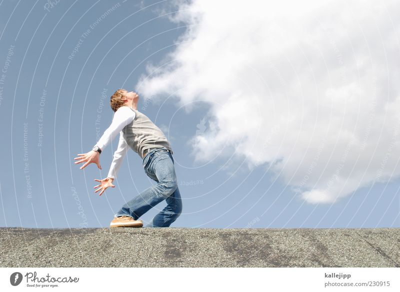 Human being Sky Sun Summer Clouds Adults Far-off places Freedom Weather Wind Masculine Climate Perspective Posture Smoking Jeans