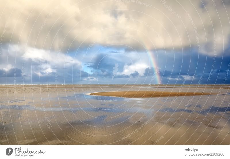 Rainbow on North sea coast after shower, Holland Beautiful Vacation & Travel Tourism Beach Ocean Island Nature Landscape Sand Sky Clouds Weather