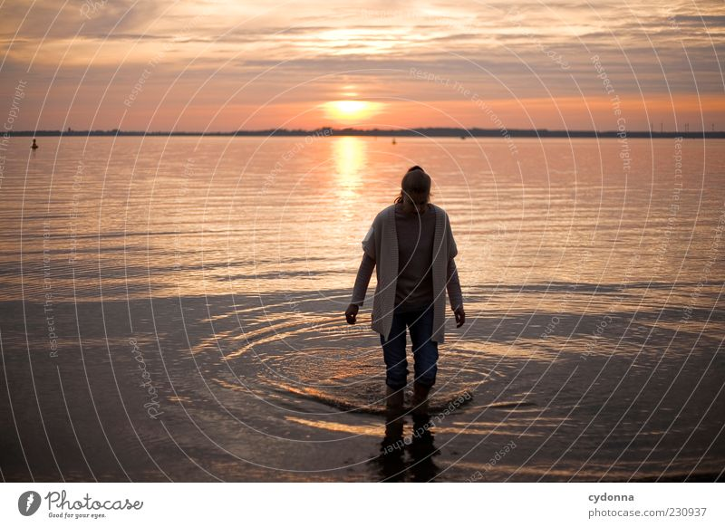 Human being Nature Water Vacation & Travel Calm Loneliness Relaxation Life Environment Freedom Movement Lake Contentment Time Going Trip
