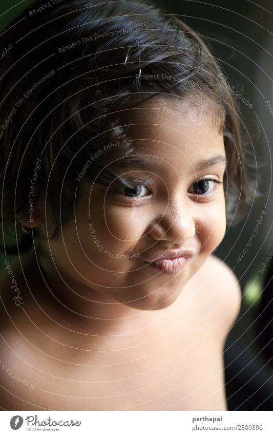 Portrait of cute little girl smiling Joy Well-being House (Residential Structure) Girl Head 1 Human being 3 - 8 years Child Infancy To enjoy Smiling Healthy