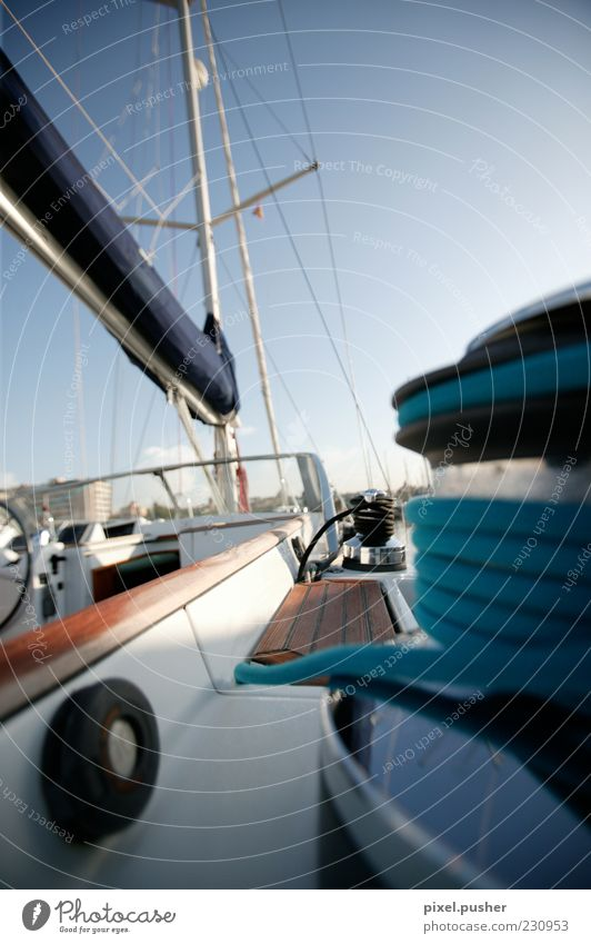 Blue Summer Rope Sailing Navigation Summer vacation Luxury Blue sky Sailboat Yacht Sailing ship Watercraft Plank Boating trip Rigging