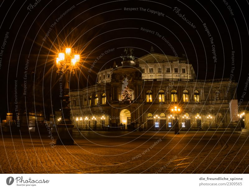 Semperoper & Theaterplatz at night Tourism Sightseeing City trip Art Sculpture Architecture Stage play Theatre Culture Event Operetta Music Opera Opera house