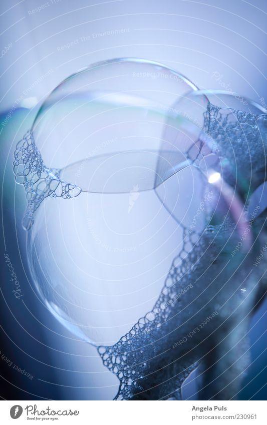Blue Dream Round Uniqueness Desire Near Sphere Eternity Blow Soap bubble Foam Refraction Macro (Extreme close-up)