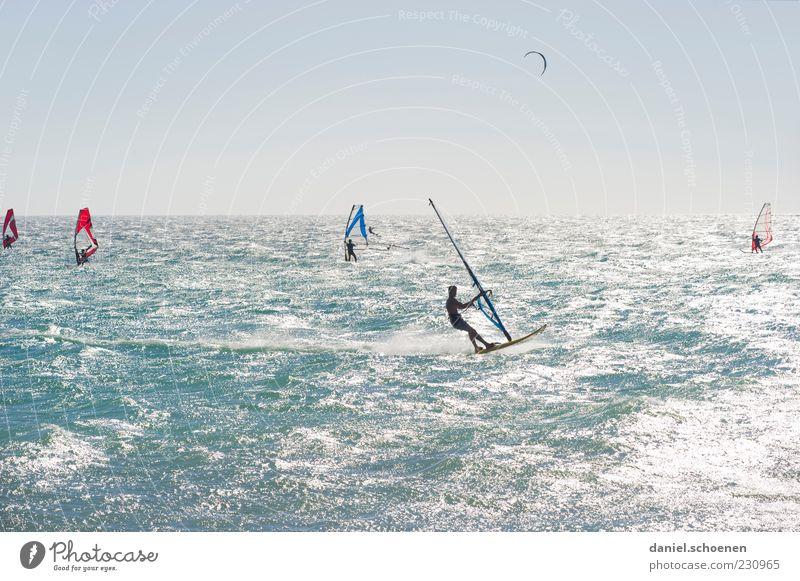 so slowly Leisure and hobbies Vacation & Travel Summer Summer vacation Ocean Waves Aquatics Human being 5 Blue White Wind Surfing Windsurfing Windsurfer Light