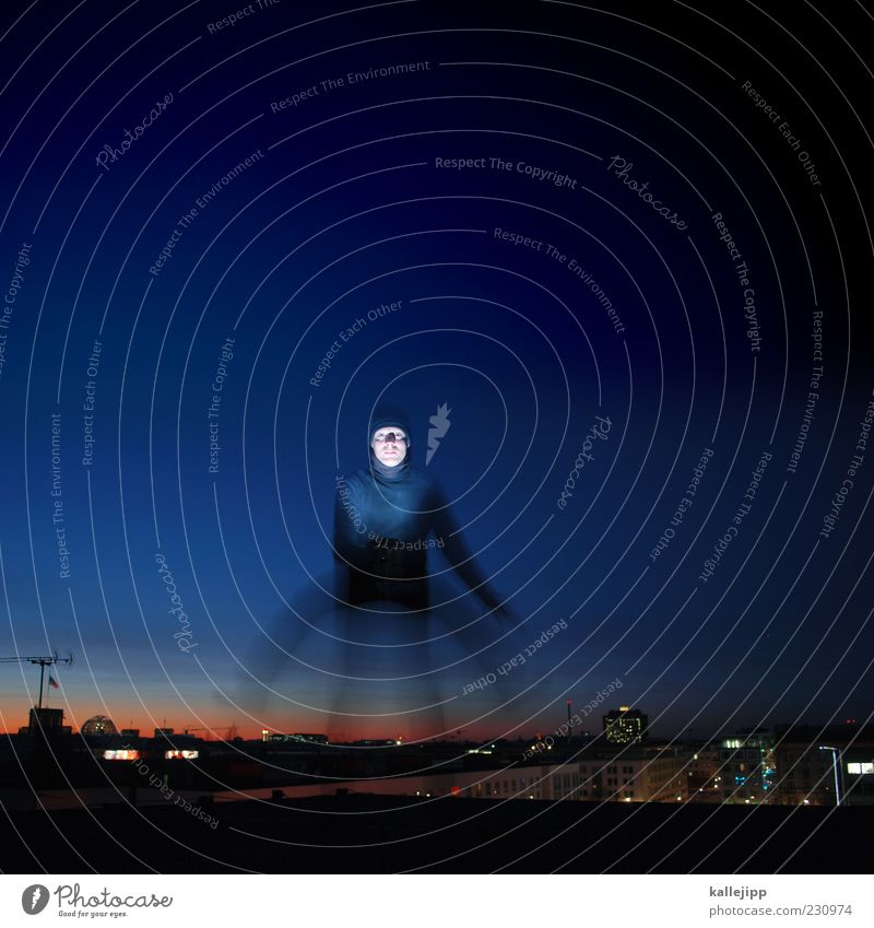 quadrupeds Human being Masculine Man Adults 1 Town Jump Night sky Antenna Long exposure Colour photo Subdued colour Exterior shot Twilight Flash photo Light