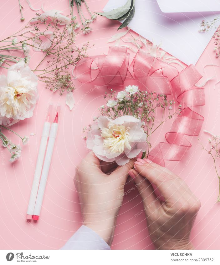 Human being Hand Flower Feminine Style Feasts & Celebrations Pink Design Decoration Wedding Rose Bouquet Desk Pastel tone Florist Arranged