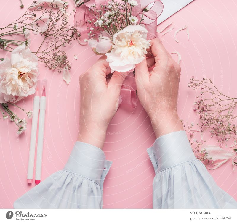 Female hands make flower decoration Style Design Decoration Feasts & Celebrations Valentine's Day Mother's Day Wedding Birthday Human being Feminine Woman