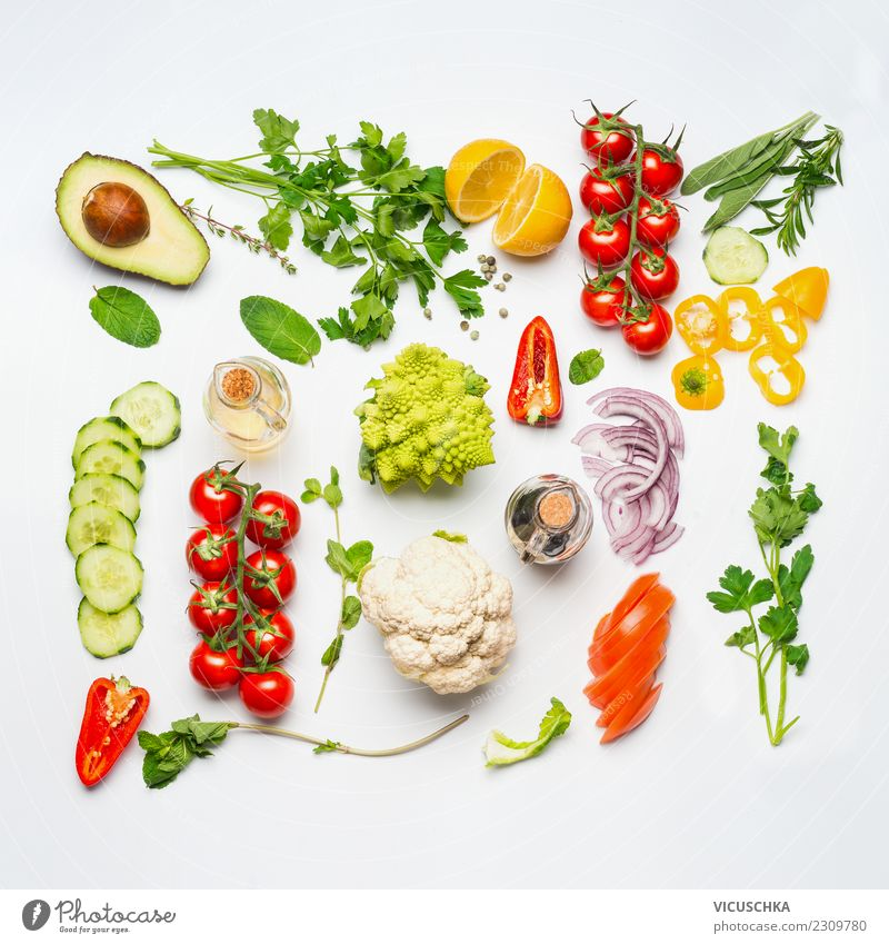 Frog Summer Salad Ingredients Food Vegetable Lettuce Herbs and spices Cooking oil Nutrition Lunch Organic produce Vegetarian diet Diet Shopping Style Design