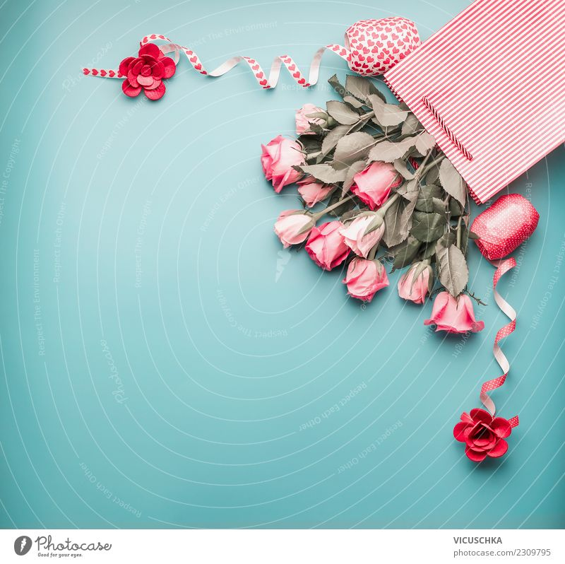 Pale pink bundles of roses in a shopping bag with bows Shopping Style Design Decoration Feasts & Celebrations Valentine's Day Mother's Day Wedding Birthday