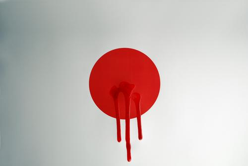11/03/2011 Japan Disaster Accident Blood Wound Death Ominous Irradiated Information Flag Politics and state Colour photo Studio shot Experimental Deserted