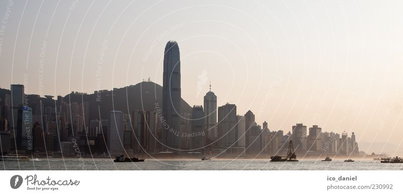 Hong Kong Skyline - Panorama Far-off places Air Water Sunrise Sunset Fog Hongkong China Asia Town Downtown Populated Overpopulated High-rise Bank building
