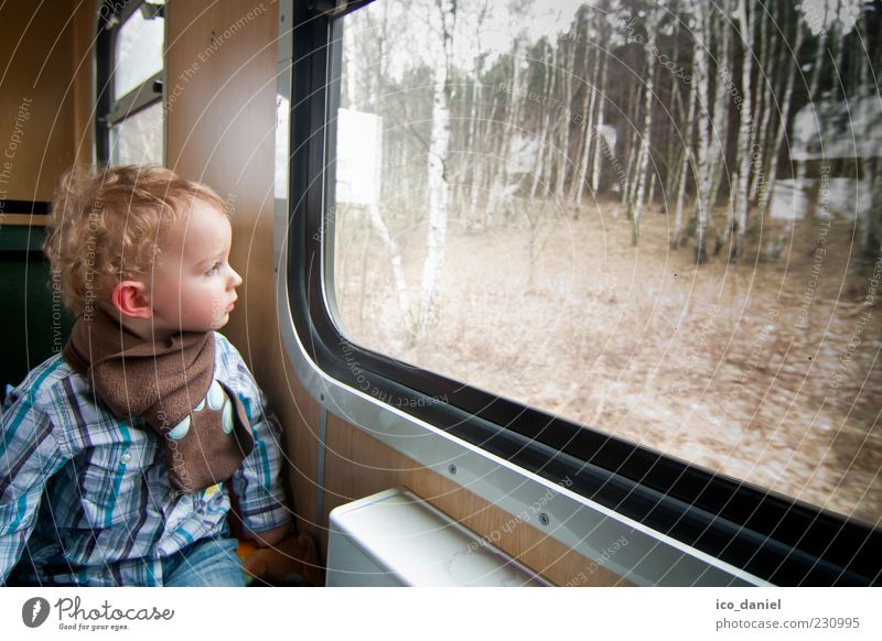 Human being Child Vacation & Travel Joy Forest Boy (child) Movement Happy Infancy Blonde Trip Masculine Tourism Railroad Train window Driving