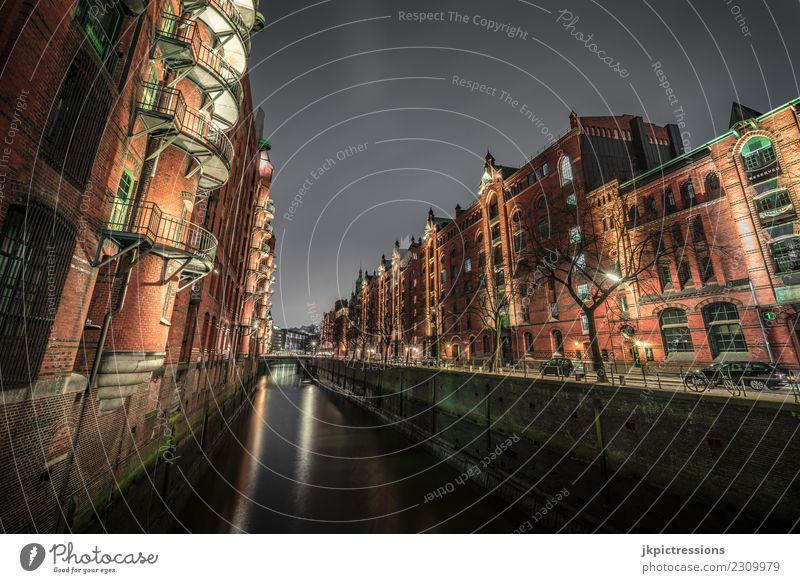 Hamburg Speicherstadt at night Europe Germany Old warehouse district World heritage Harbour Night Night shot Wide angle Clouds Dark Handrail Lighting Facade