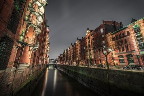 Sky Water Clouds Dark Lighting Wood Building Germany Facade Europe Bridge Hamburg Manmade structures Handrail Harbour Brick
