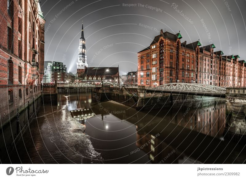 Hamburg Speicherstadt / St Katharinen Church at night Europe Germany Old warehouse district World heritage Harbour Night Night shot Wide angle Clouds Dark