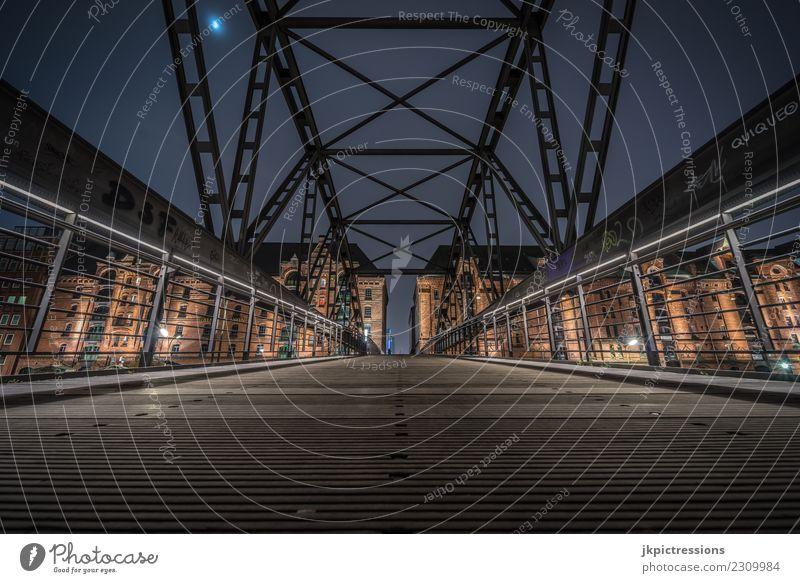 Sky Dark Lighting Wood Building Germany Facade Europe Bridge Hamburg Manmade structures Harbour Brick Steel Bridge railing Moon