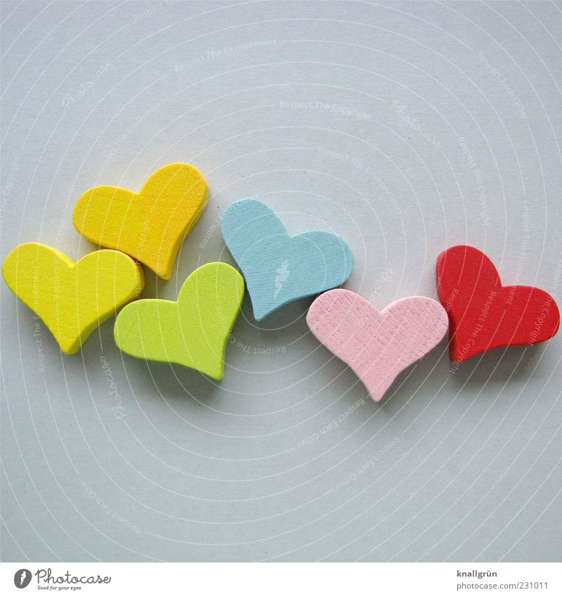 Blue Green Red Joy Yellow Wood Gray Happy Pink Heart Decoration Heart-shaped