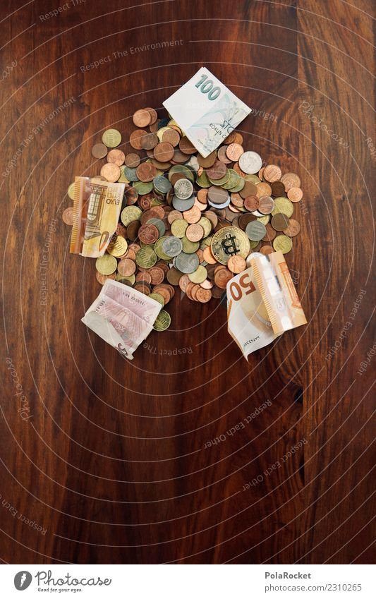 # A # bunch of cash Art Work of art Esthetic Money Coin Bank note Monetary capital Financial transaction Heap Loose change Save spared Euro Colour photo