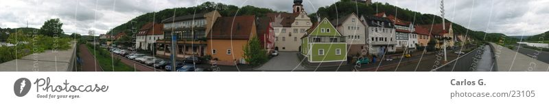 City of Rothenfels Panorama (View) Allgäu Architecture The smallest city in Bavaria City of Rothenfels in Lower Franconia- Main Water Large Panorama (Format)