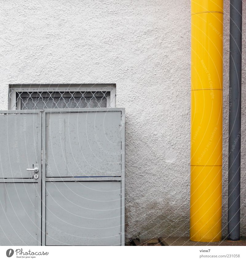 Old House (Residential Structure) Colour Yellow Cold Window Wall (building) Gray Building Wall (barrier) Metal Line Door Facade Concrete Arrangement
