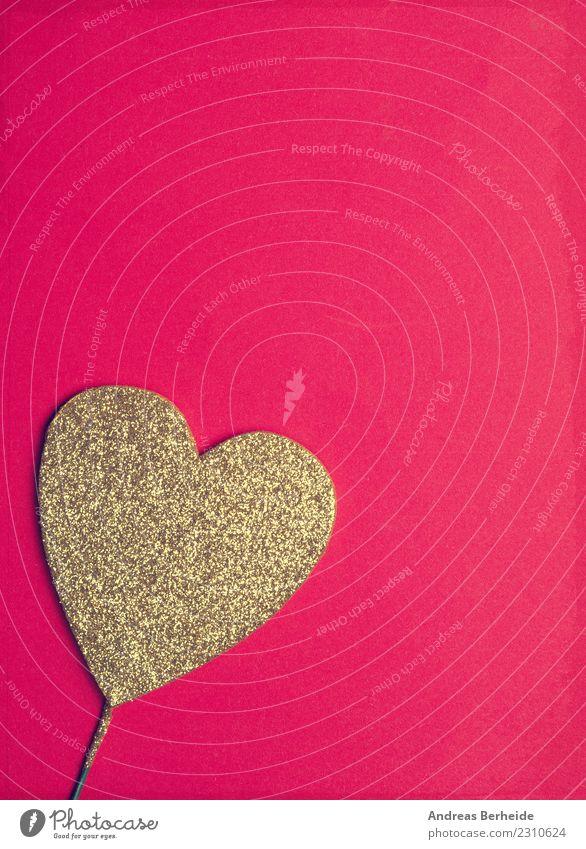 Golden glitter heart on red background Design Valentine's Day Birthday Heart Love Kitsch Retro Sympathy Friendship Romance Background picture beautiful card