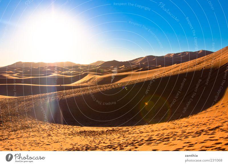 Sahara Landscape Sand Sun Sunlight Beautiful weather Drought Desert Horizon Nature Tourism Environment Vacation & Travel Change Morocco Dune Africa Loneliness