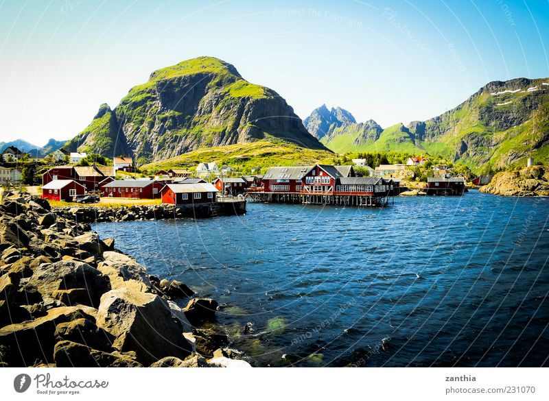 Water Red Vacation & Travel Ocean Summer House (Residential Structure) Landscape Mountain Travel photography North Sea Village Beautiful weather Bay Hut Norway Cloudless sky