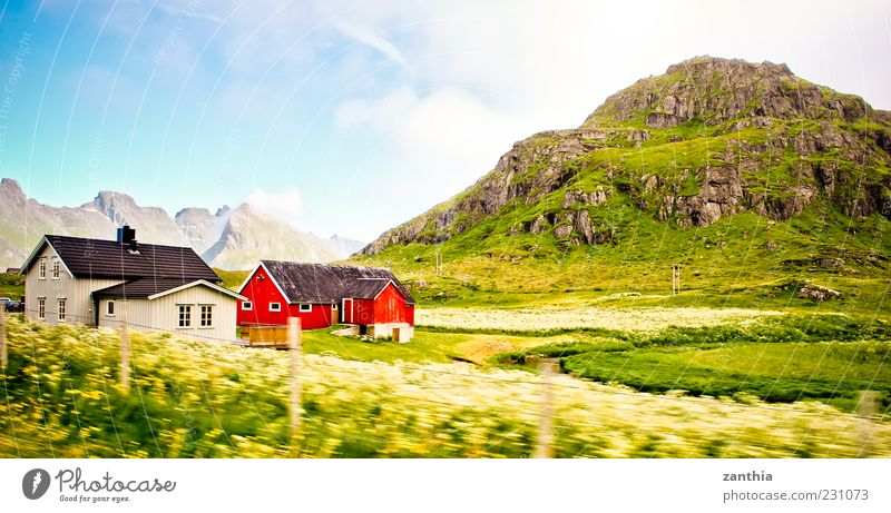 Norway Environment Nature Landscape Sky Clouds Summer Beautiful weather Meadow Hill Rock Mountain House (Residential Structure) Detached house Hut