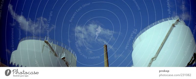 Sky White Clouds Environment Above Large Stairs Modern Perspective Future Round Factory Chimney Industrial plant Advancement Thermal power station