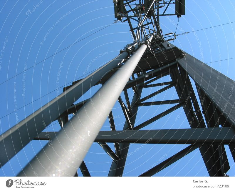 Power pole 2 Electricity Electricity pylon transformer station Sky Cable reclamping Section of image Detail Central perspective Skyward Vertical Upward