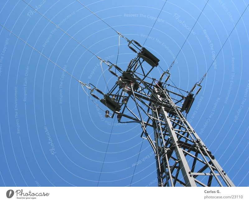Sky Electricity Cable Upward Electricity pylon Vertical Blue sky Section of image High voltage power line Junction Cloudless sky Distributor Power consumption