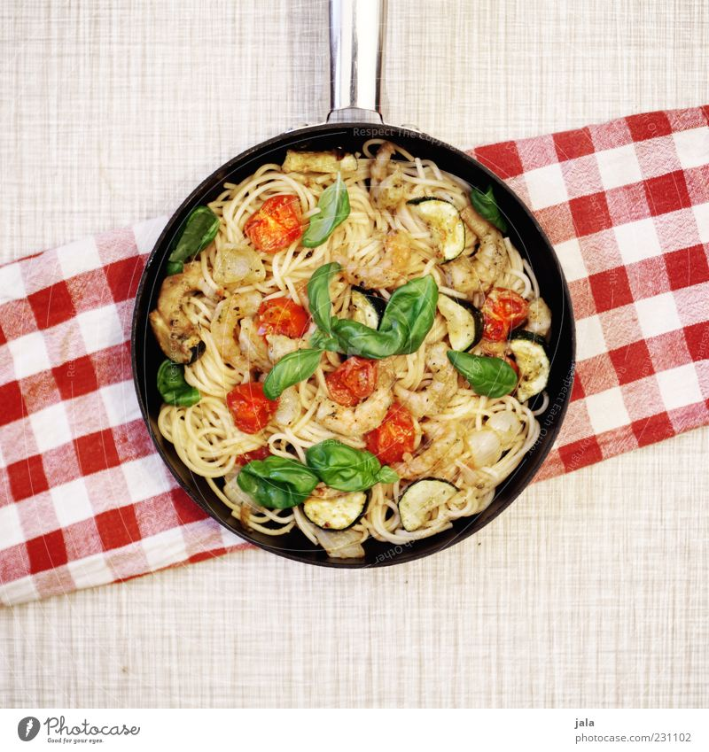 spaghetti Food Seafood Spaghetti Tomato Basil Nutrition Lunch Italian Food Pan Delicious Colour photo Interior shot Deserted Copy Space bottom Day