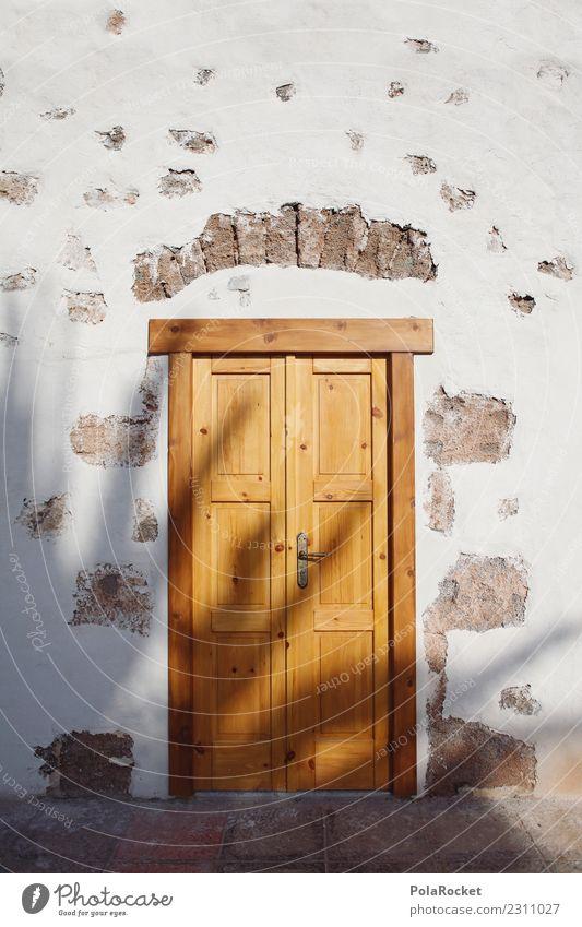 # AS # sun door Art Esthetic Door Fuerteventura Portal Shadow Summer Summer vacation Wooden door Spain Mediterranean Colour photo Subdued colour Exterior shot