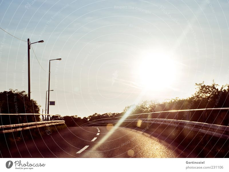 Sky Sun Street Warmth Glittering Bridge Asphalt Traffic infrastructure Street lighting Curve Tar Lens flare Lane markings Shadow Crash barrier Median strip