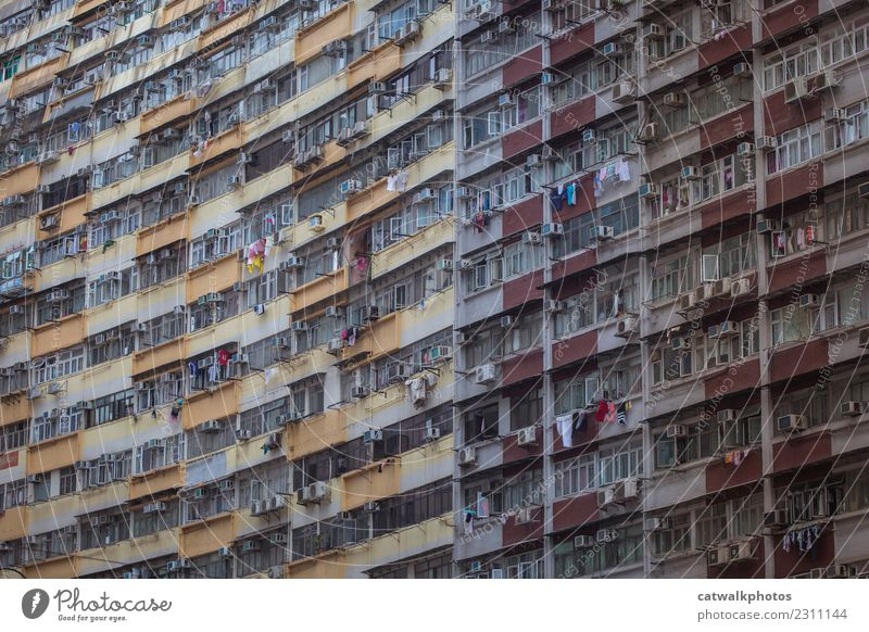 Hong Kong Architecture Hongkong Town House (Residential Structure) Building Wall (barrier) Wall (building) Balcony Window Landmark Environmental pollution