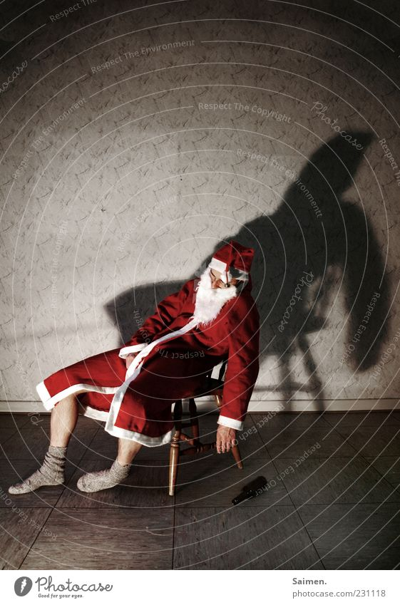 Human being Man Christmas & Advent Loneliness Adults Sit Masculine Sleep Exceptional Change Drinking Santa Claus Whimsical Fatigue Stress Alcohol-fueled