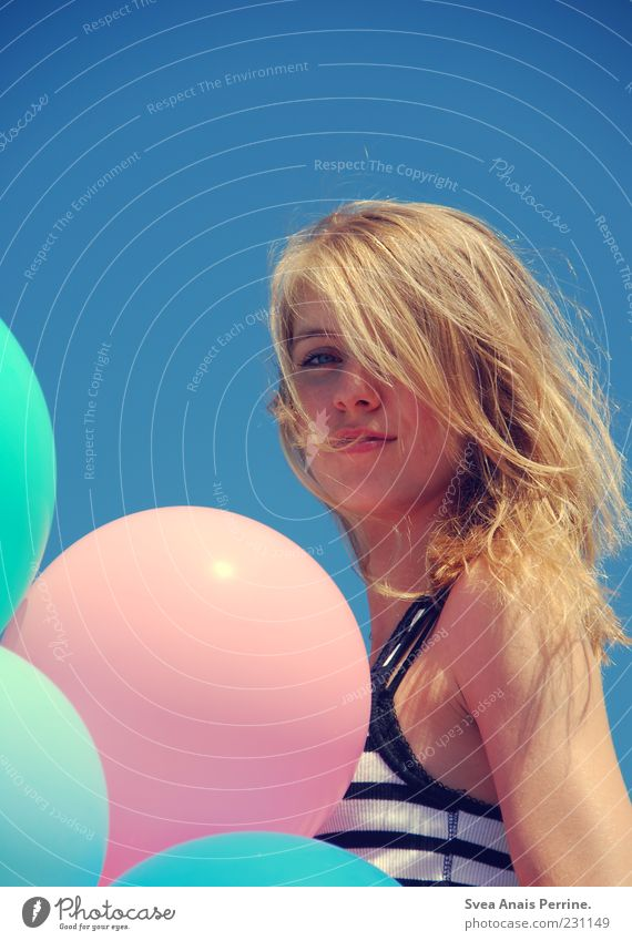 Human being Youth (Young adults) Blue Beautiful Feminine Blonde Elegant Pink Free Happiness Natural Lifestyle Authentic Uniqueness Balloon