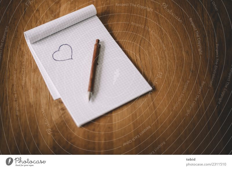 Love Heart Paper Sign Longing Infatuation Letter (Mail) Pen Wooden table Piece of paper Notebook Ballpoint pen Love letter