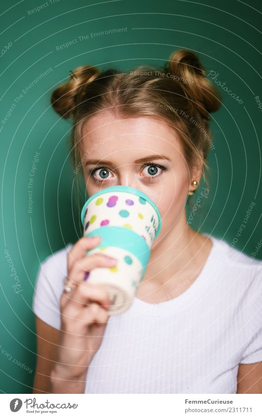 Blonde girl drinking coffee from a reusable coffee mug Lifestyle Style Feminine Young woman Youth (Young adults) Woman Adults 1 Human being 18 - 30 years