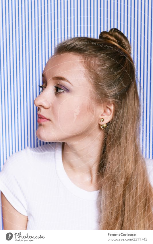 Portrait of a young blonde woman with updo Feminine Young woman Youth (Young adults) Woman Adults 1 Human being 18 - 30 years Uniqueness Beautiful Style
