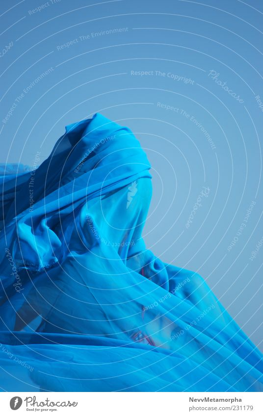 blue Human being Feminine Head 1 Sky Blue Rag chiffon Wrap Movement Colour photo Exterior shot Day Light Concealed Anonymous