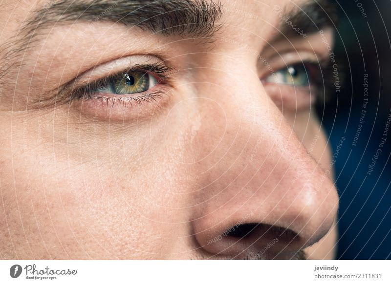 Close-up shot of man's eyes Beautiful Skin Face Human being Young man Youth (Young adults) Man Adults Eyes 1 30 - 45 years Green close Vantage point Vision